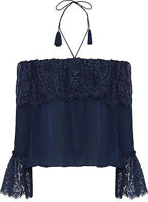 Rachel Zoe Rachel Zoe Woman Cali Off-the-shoulder Cotton-blend Lace And Silk Crepe De Chine Top Navy Size 2