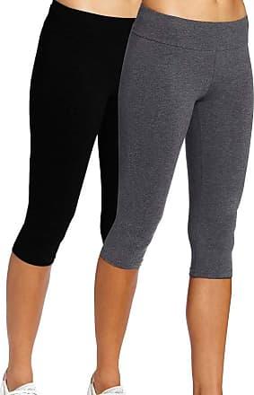 iLoveSIA 2Pack Womens Yoga Pants High Waist Workout Stretch Running Leggings Black Grey XL