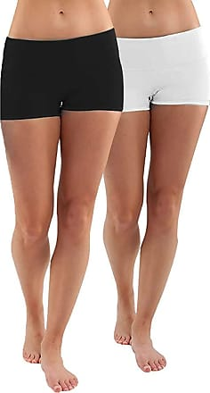 iLoveSIA Womens Knickers Yoga Gym Workout Boy Shorts 2Pack Black+White XL