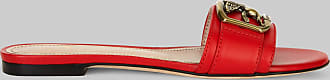 Etro Flat Leather Pegaso Sandals, Woman, Red, Size 36
