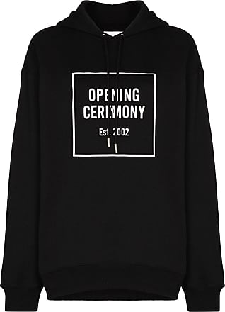 Opening Ceremony black box logo cotton hoodie - Preto