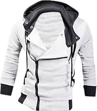 Jeansian Mens Casual Hooded Jacket Slim Fit Outerwear Sweatshirt Tops Coat Zip Sport 8945 White XL