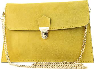 modamoda.de Modamoda de - ital. Bag Wild leather clutch handbag city bag T206, Colour:yellow