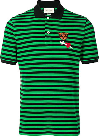 6f4f75ad82a Gucci patch striped polo shirt - Green