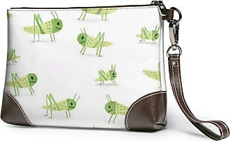 GLGFashion Womens Leather Wristlet Clutch Wallet Grasshopper Storage Purse With Strap Zipper Pouch