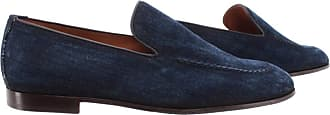 Doucal's Mens Loafers Shoes Jeans Blu Fabric Leather Blue
