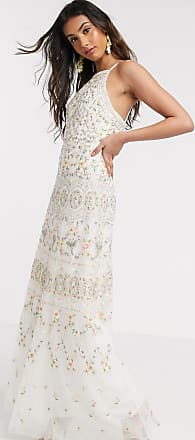 Needle & Thread Lange cami-jurk met borduursel in ivoorkleur-Wit
