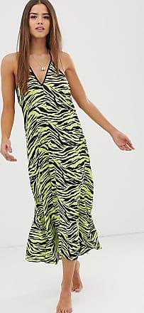 Miss Selfridge midi beach dress in zebra print-Green