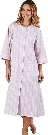 Slenderella Womens Seersucker Housecoat, Dressing Gown Popper Fasten (Pink, 10-12)