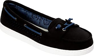 Dearfoams Womens StepOut Moccasin Slippers (Black, 7.5)