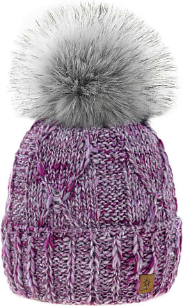 4sold Womens Ladies Chunky Soft Cable Knit Handmade Hat Natural Alpaca Wool Inside Cosy Fleece Liner Faux Fur Pom Pom (Lavender Pink)