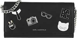 Karl Lagerfeld Studio Tweed Wallet On Chain Black Multi Umhängetasche schwarz