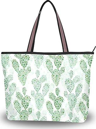 Lorona Watercolor Cactus Pattern Canvas Shoulder Hand Bag Large Capacity Tote Bag