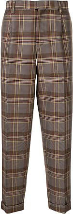 Kolor plaid pattern trousers - Brown