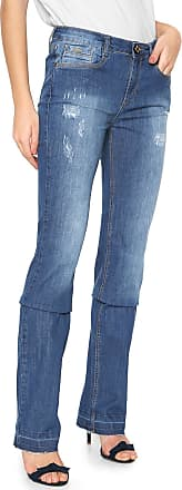 Lança Perfume Calça Jeans Lança Perfume Reta Desfiada Azul
