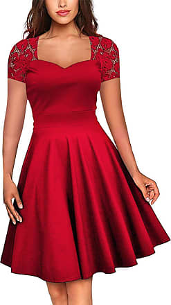 FeelinGirl Womens Plus Size Evening Dresses V Neck Half Sleeves High Waist A Line Party Dress (Red-52, UK 20-22 XXL)