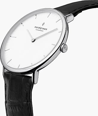 Nordgreen Native | White Dial - Black Croc Leather - 40mm / Rose Gold