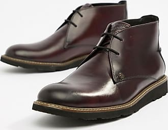 Original Penguin Leather Lace Up Boots in Oxblood-Red