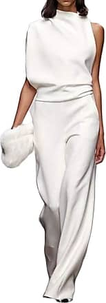 H&E Womens Casual Solid Color Summer Sleeveless Wide Leg Bodysuit Jumpsuit White M