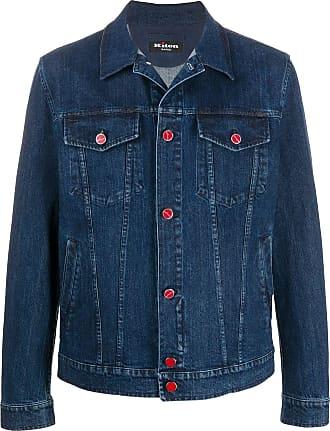 Kiton logo-embroidered denim jacket - Blue