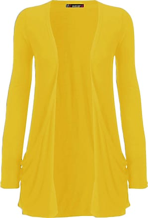 WearAll Ladies Long Sleeve Boyfriend Cardigan Womens Top - Yellow - 12/14