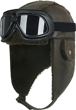 Ililily Aviator Hat Winter Snowboard Fur Ear Flaps Trooper Trapper Pilot Goggles (One Size, Dark Brown/Black Goggle)