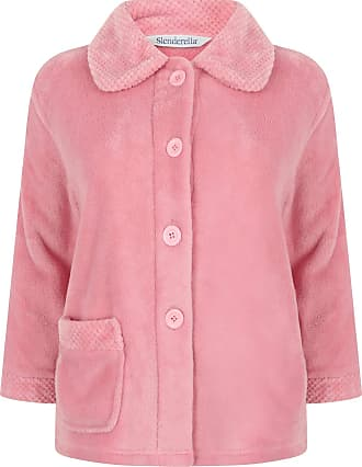 Slenderella Womens Button Up Coral Fleece Bed Jacket Housecoat with Waffle Detail - Medium (Pink)