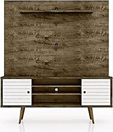 Manhattan Comfort 213BMC96 Liberty Entertainment Center, Rustic Brown/White