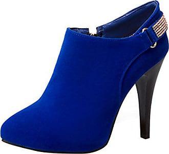 8a9362a7f4140e UH Damen High Heels Stiefeletten Spitz Stiletto Ankle Boots mit  Reißverschluss und Strass Elegante Schuhe