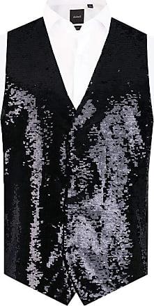 Dobell Mens Black Sequin Waistcoat Regular Fit-M (38-40in)