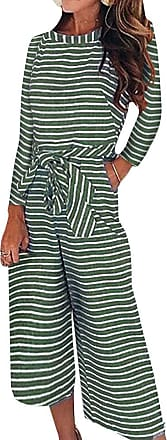 FeelinGirl Womens High Waisted Striped Jumpsuits with Belt Small (UK 8-10) Green