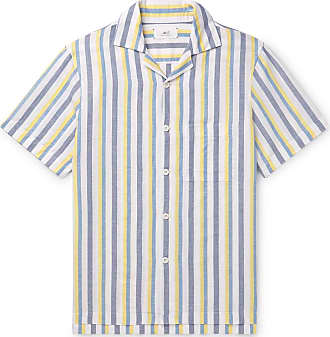 Mr P. Camp-collar Striped Linen And Cotton-blend Shirt - Multi