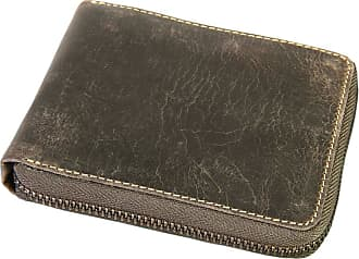 Visconti Distressed Oiled Hunter Leather Zip Round Wallet for Credit Cards, Banknotes, Coins - Oil Brown