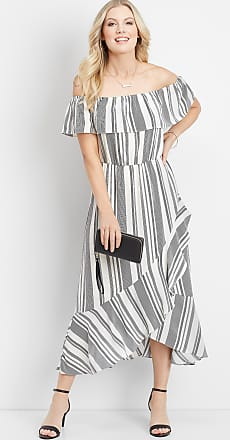 Maurices Ruffled Stripe Off The Shoulder Maxi Dress