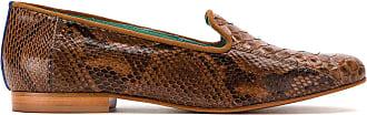 Blue Bird Shoes Loafer Exótico de couro python - Marrom