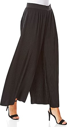 Roman Originals Women Pleated Wide Leg Trousers - Ladies Wide Leg Palazzo Pants Full Length Jersey Smart Casual Work Office Flared Trouser Elasticated Waist 1940s Tro