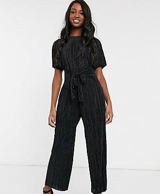 Asos Tall ASOS DESIGN Tall plisse tie front culotte jumpsuit-Black