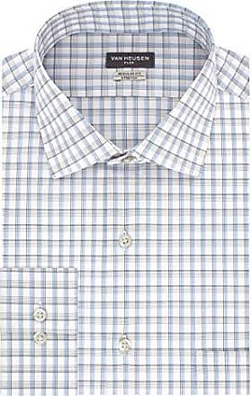 Van Heusen Mens Dress Shirt Regular Fit Flex Collar Stretch Check, Azure, 17 Neck 34-35 Sleeve