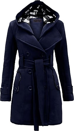 Noroze Womens Long Sleeve Belted Button Fleece Coat Size 8 10 12 14 16 18 20 22 24 26 Navy