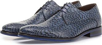 Floris Van Bommel Blauer Leder-Schnürschuh mit Print, Business Schuhe, Handgefertigt