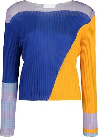 I-am-chen Blusa color block de seda - Azul
