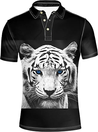 Hugs Idea Tiger Mens Short Sleeve Golf Polos Shirt Animal 3D Print Fashion Hipster Collars Button Down T-Shirt