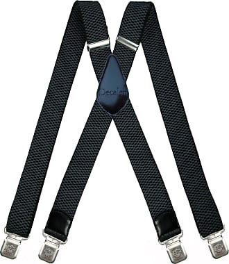 Decalen Mens braces wide adjustable and elastic suspenders X shape with a very strong clips Heavy duty (Dark-Grey)
