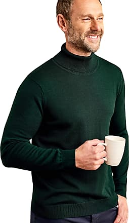 WoolOvers Mens 100% Merino Polo Neck Knitted Sweater Racing Green, L