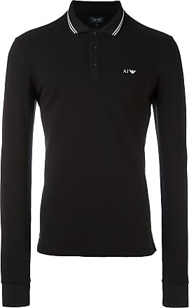Armani Jeans Camisa polo com logo bordado - Preto