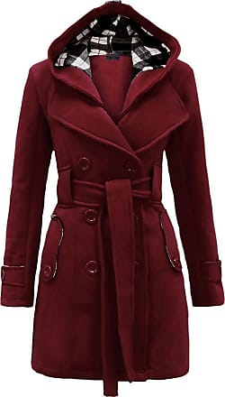 Noroze Womens Black Long Sleeve Belted Button Coat Hood Plus Size Jackets Size 8 10 12 14 16 18 20 (XL(14), Wine)