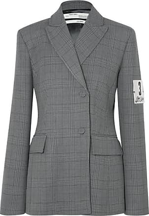 Off-white Galles Appliquéd Checked Woven Blazer - Gray