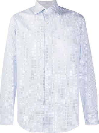 Canali Camisa mangas longas com estampa geométrica - Azul