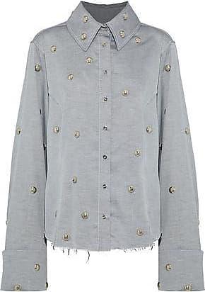 774d1115f4e954 Marques Almeida Marques Almeida Woman Studded Cotton-twill Shirt Gray Size  XS