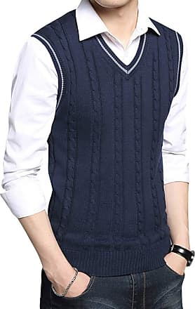 Yonglan Mens Cable Knit Vest V-Neck Sleeveless Slipover Knitwear Sweater Tank Tops Sapphire Blue XL